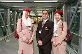 MOSCOW -JUNE 04: Emirates crew members after landing on June 04, 2014 in Moscow, Russia. Emirates ha