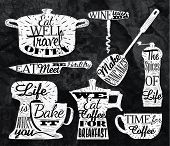 Kitchen symbol vintage lettering with chalk restaurant
