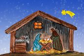 picture of christmas baby  - Nightly christmas scenery - JPG