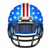 Footbal helmet with stripes and stars