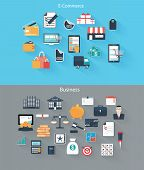 Set Of Flat Icons For Web And Mobile Devices, E-commerce, Business