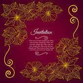 Elegant invitation card with floral lace quilling