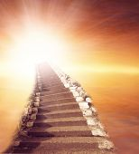 pic of stairway to heaven  - Stairway leading up to bright light  - JPG