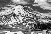 Black and white image of the north face of Mt. Rainier as seen from the Mt. Freemont Trail