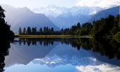 Lake Matheson with Mt Cook, New Zealand.