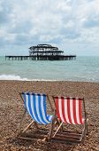 Deck chair's on Brighton beach.