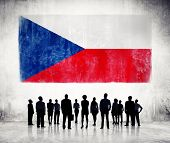 Silhouettes of Business People and a Flag of Czech Republic