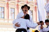 ZAGREB, CROATIA - JULY 20: Members of folk groups St. Jerome from Strigova, Croatia during the 48th International Folklore Festival in center of Zagreb, Croatia on July 20, 2014