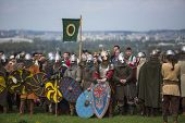 KRAKOW, POLAND - APR 22, 2014: Unidentified participants of Rekawka - Polish tradition, celebrated i