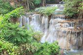 Deep Forest Waterfall In Kanchanaburi (huay Mae Kamin), Thailand.