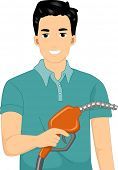 Illustration of a Man Holding a Gasoline Pump Handle