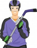 Illustration of a Man Dressed as an Ice Hockey Player