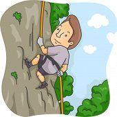 Illustration of a Man Rappelling Down a Cliff