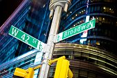 stock photo of broadway  - 42nd street and Broadway intersection in New York - JPG