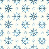 Vector Seamless Pattern Ship Wheels And Compass Texture