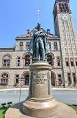 stock photo of revolutionary war  - Monument to Philip John Schuyler in front of the Albany City Hall - JPG
