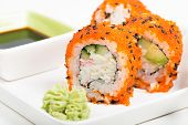 Maki sushi rolls on the plate