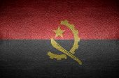 Closeup Screen Angola Flag Concept On Pvc Leather For Background
