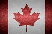 Closeup Screen Canada Flag Concept On Pvc Leather For Background