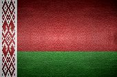 Closeup Screen Belarus Flag Concept On Pvc Leather For Background