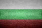 Closeup Screen Bulgaria Flag Concept On Pvc Leather For Background
