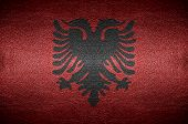 Closeup Screen Albania Flag Concept On Pvc Leather For Background
