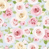 picture of english rose  - Vector seamless pattern with pink and white roses and green leaves on a blue background - JPG