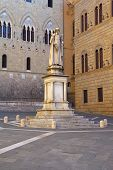 Famous Salimbeni Square In Siena (tuscany, Italy)