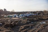 picture of landfills  - Piles of garbage on the landfill near the city - JPG
