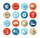 Set of icons representing media and broadcasting in flat design style