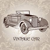 Vintage Vector Card With Retro Car