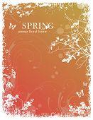 grungy floral spring frame