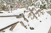 picture of split rail fence  - snow covered split rail fence in Rocky Mountain National Park - JPG