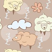 seamless pattern - flying sheep