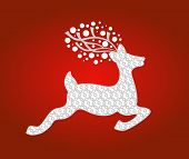 Reindeer with flower pattern uses with or without pattern and antlers in vector format