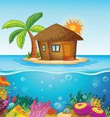 Illustration of a house on a desert island
