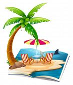 Illustration of a popup book of beach
