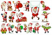 Illustration of different actions of santa