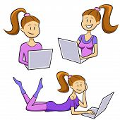 Funny cartoon girl tipes on a laptop