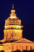 Iowa Capitol building at night