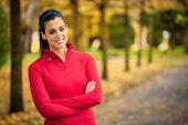 Sporty Fitness Woman Autumn Portrait And Success