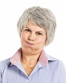 Portrait of a elderly woman with a worried expression