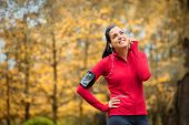 Sporty Fitness Woman With Smartphone Armband