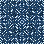 Hand drawn seamless indigo folk pattern