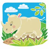 Children vector illustration of little rhino.
