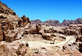 red rock formations in Petra Jordan.