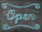 'open' Chalk Writing On Chalkboard