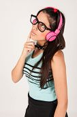 Cute Nerdy Girl Listening To Music Whilst Thinking.