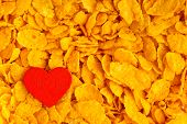 Health Diet Concept, Healthy Breakfast. Love Corn Flakes Background