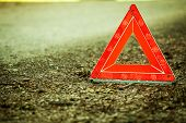 Breakdown Of Car. Red Warning Triangle Sign On Road